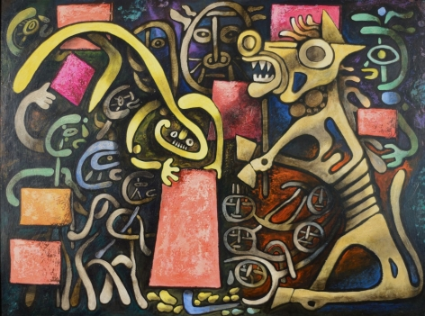 """Tempera and oil painting entitled """"Trojan Horse"""" by Julio De Diego."""