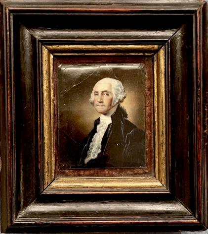 Frame view of William Birch's enamel portrait of George Washington.