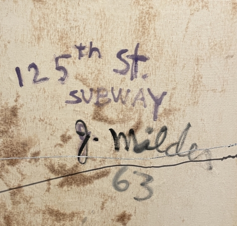 Verso inscription of 125th Street Subway painting.