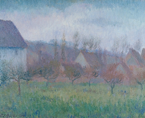 "Theodore Butler oil painting ""Farm Orchard in Winter, Giverny""."