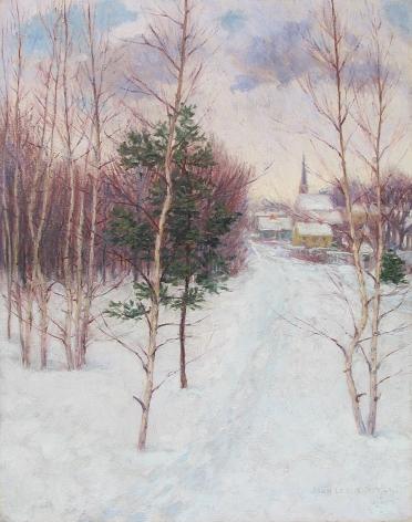"John Leslie Breck painting entitled ""Village in Winter – Auburndale, MA""."