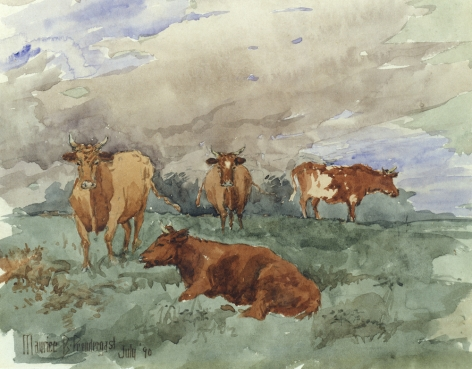 "Maurice Prendergast sold watercolor of ""Cows in Landscape""."