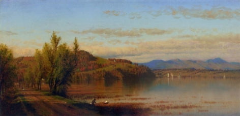 """Sold Sanford Gifford oil painting entitled """"The Bay Road at Hudson, NY""""."""