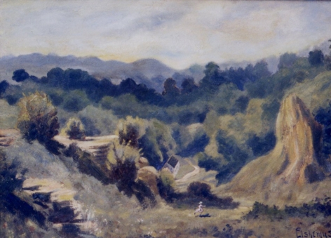 Sold oil painting depicting road through valley by Louis Eilshemius.
