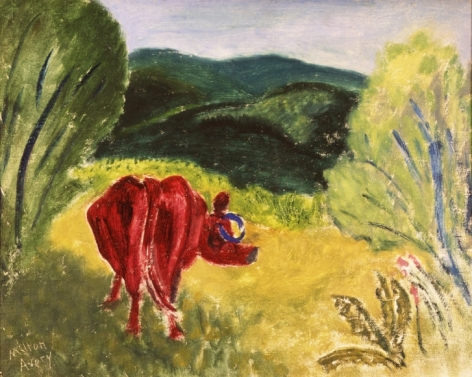 """Milton Avery 1930 sold oil painting titled """"Curious Cow""""."""