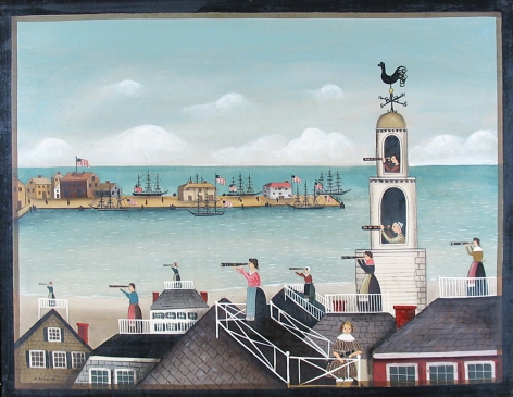 """Ralph Cahoon painting entitled """"Women with Spyglasses Looking to Sea""""."""
