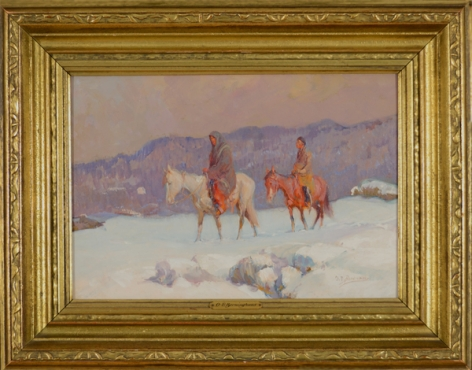 """Frame view of """"The Snow Covered Trail"""" by Oscar Berninghaus."""