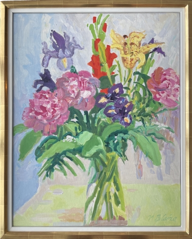 """Frame on """"Bouquet with Peonies and Empire Lily"""" by Nell Blaine."""