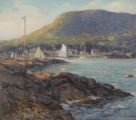 "Wilson Henry Irvine oil painting entitled ""Harbor at Camden, Maine""."