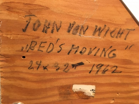 """Verso Inscription on """"Red's Moving"""" by John Von Wicht."""
