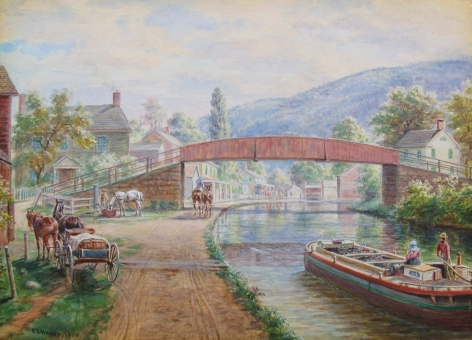 "Watercolor by E.L. Henry entitled ""Delaware & Hudson Canal, Ellenville, NY""."