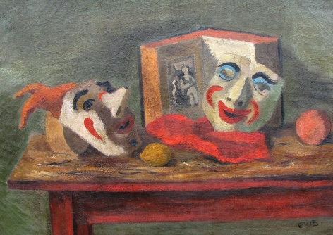 Oil painting of Still Life with Masks by Stuart Edie.