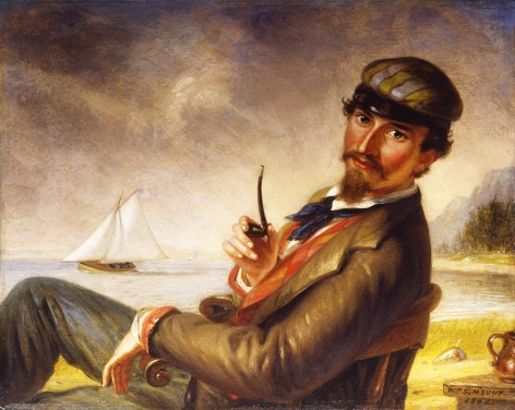 """Sold William Sidney Mount painting entitled """"Laying Off""""."""