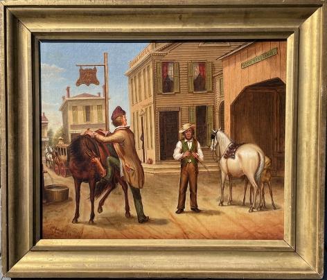 Frame view of Horse Trade Scene by Otis Bullard.