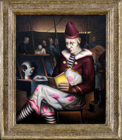Frame view of Clown Reading painting.