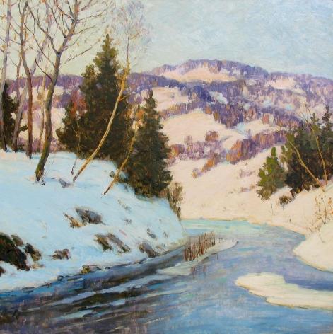 Oil painting of winter hillside by Walter Koeniger.