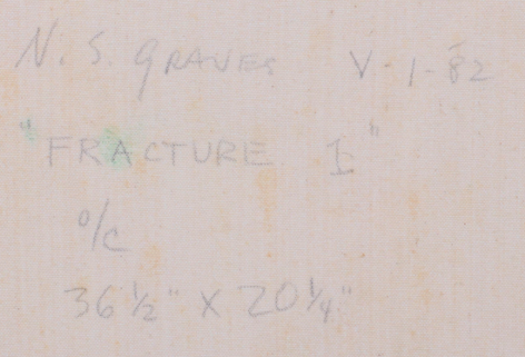 """Inscription verso """"Fracture I"""" by Nancy Graves."""