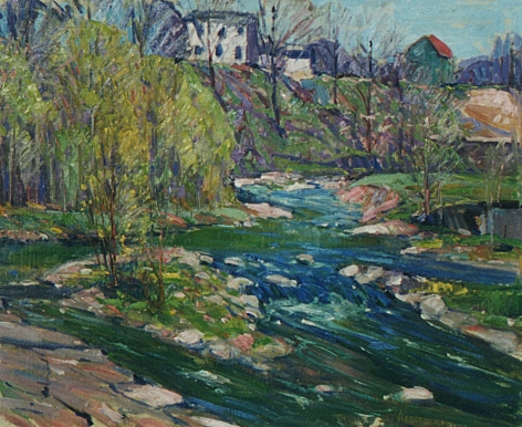"""Sold oil painting entitled """"Landscape with Stream"""" by Carl William Peters."""