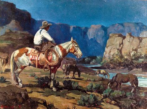 "Sold oil painting entitled ""Night Hawk"" by Olaf Wieghorst."
