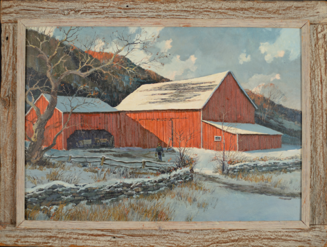 "Frame on ""Barn in Winter"" by Eric Sloane."