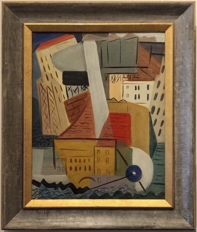 """Frame on """"City Harbor, Albany"""" 1931 oil painting by Vaclav Vytlacil."""