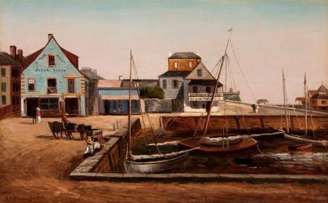"Oil painting by Frank Henry Shapleigh entitled ""The Plaza Basin, St. Augustine Florida"