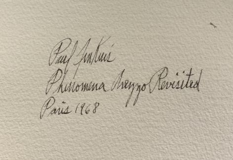 "Verso inscription on ""Phenomena Arezzo Revisited"" watercolor by Paul Jenkins."