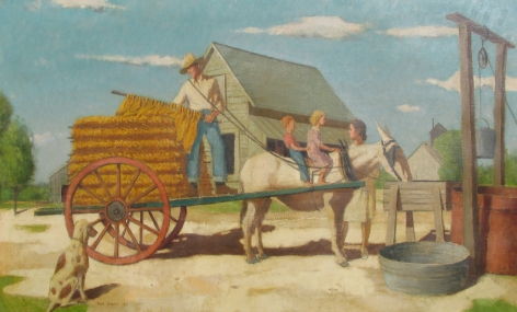 """Paul Sample oil painting titled """"Cartin' the Leaf"""" from 1942."""