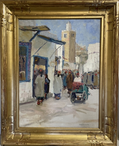 """Frame of """"A Busy Corner Tunis"""" by Jane Peterson."""