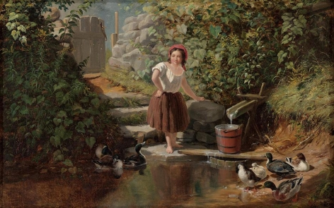 """Oil painting titled """"Pleasant Thoughts"""" by Arthur Fitzwilliam Tait."""