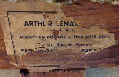 "Art shipper label verso ""50F"" by Raymond Godin."