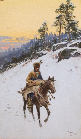 """Sold gouache entitled """"Returning from the Hunt"""" by Henry Farny."""