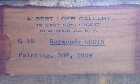 "Label verso ""50F"" by Raymond Godin."