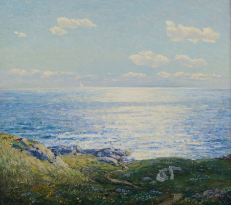 "Wilson Henry Irvine painting entitled ""The Picnic, Monhegan""."