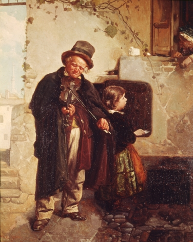 """Sold painting by Gerolamo Induno entitled """"Fiddler with Child""""."""