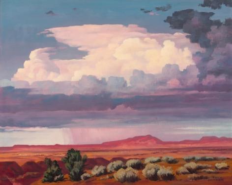 """Emil Bisttram sold painting """"Red Rain""""."""