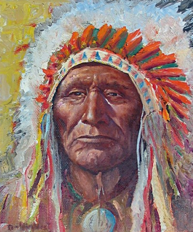 """Sold oil painting by Olaf Wieghorst """"The Chief""""."""