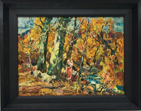 """Frame on """"Mother and Child"""" by John Cositgan, circa 1955 oil painting."""
