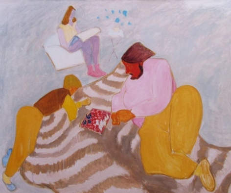 """Sally Michel painting entitled """"Chess Game""""."""