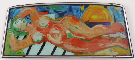 Untitled car windshield painted with a reclining nude by Miriam Laufer.