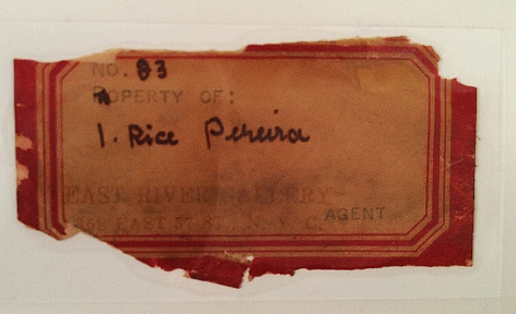 Label verso on Masts by Irene Rice Pereira.