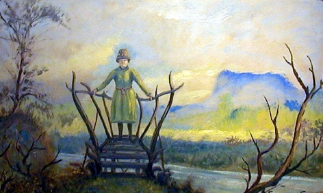 Sold oil painting of woman on bridge with hat by Louis Eilshemius.