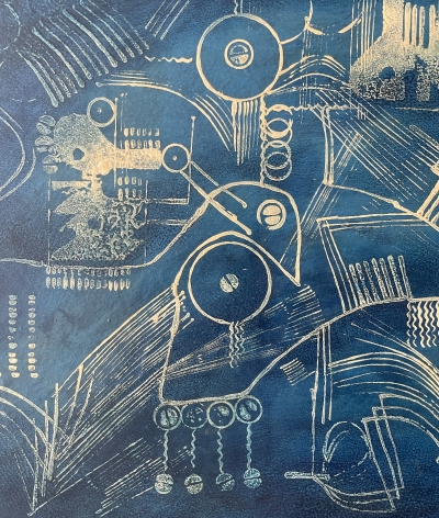 """Detail of """"Blueprint of the Future"""" by Julio De Diego."""