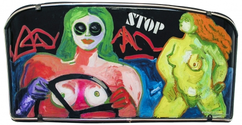 """Painted windshield by Miriam Laufer entitled """"Stop""""."""