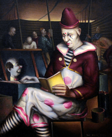 Clown Reading painting by Paul Sample.