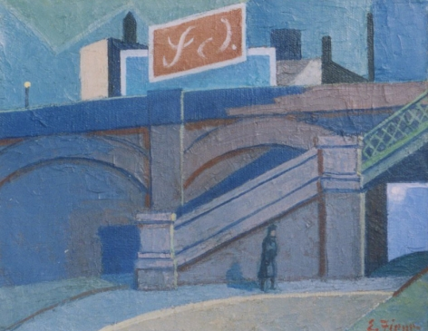 """Ernest Fiene sold painting """"Steps Up the Bridge""""."""