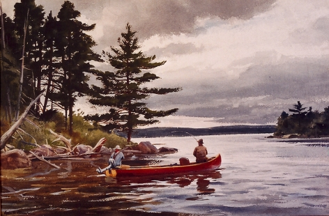 "Sold watercolor by Ogden Pleissner entitled ""Casting on Grand Lake""."