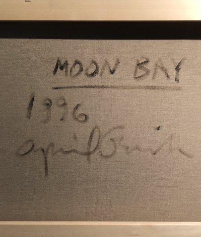 Verso signature, date and title of Moon Bay 1996 oil painting by April Gornik.