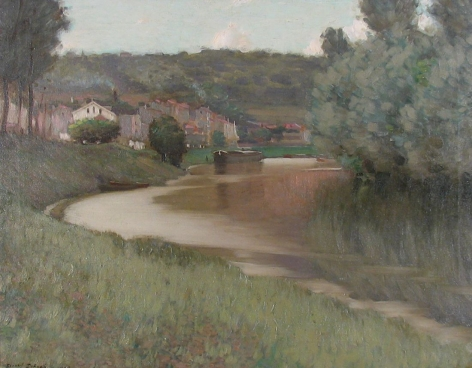 "Oil painting entitled ""River Scene"" by Edward Dufner."