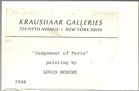 """Kraushaar Galleries label verso """"Judgement of Paris"""" by Louis Bouche."""